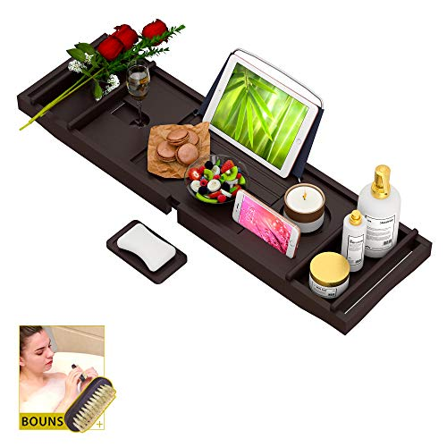 Bathtub Caddy Tray for Luxury Bath - Bamboo Waterproof Expandable Bath Table Over Tub with Wine and Book Holder and Free Soap Dish (Brown)