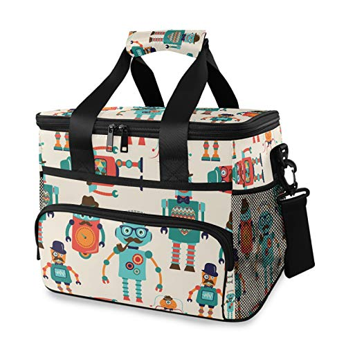 Bolsa de almuerzo grande con diseño de robots de dibujos animados vintage con correa acolchada ajustable para el hombro para picnic al aire libre, viajes, playa