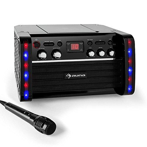 auna Disco Fever - Set de Karaoke, Amplificador, 1 x micrófono dinámico, 2 x Conexiones micrófono, Reproductor CD+G,...