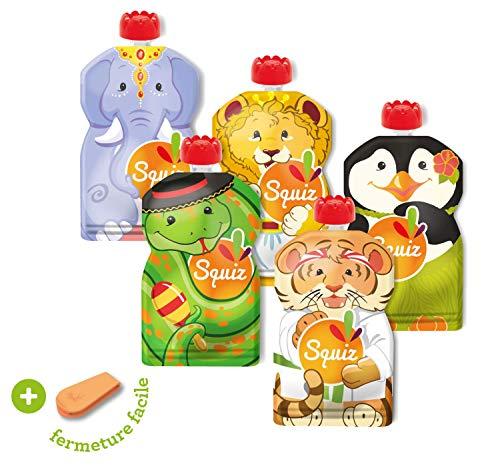 SQUIZ - 5 Bolsas de comida recargables y reutilizables 130ml para compotas y purés perfectas para niños, adolescentes y adultos // Libre de BPA – HECHO EN SUIZA