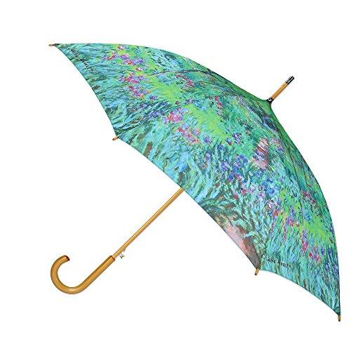 CTM Women's Auto Open Monet Print Stick Umbrella, Monet