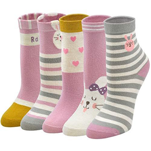 PUTUO Kinder Socken Bunte Mädchen Socken aus Baumwolle, Witzige Socken Kinder Sneakersocken Lustige Tier Socken Mädchen Strümpfe, 8-11 Jahre