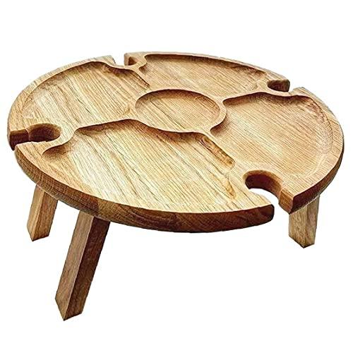 Pequeña mesa plegable Picnic plegable Escritorio de madera con plato compartimental de...