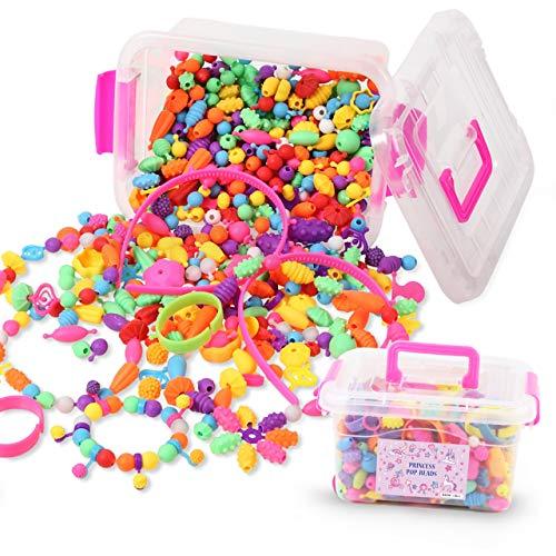 おもちゃ 女の子 アクセサリー キット カチューシャ付【 POP BEADS ポップビーズ 】 学んで遊ぶ 知育玩具 誕生日やクリスマスプレゼントにも(500PCS収納ケース付)