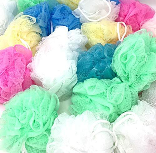 Loofah Lord 20 Medium Bath or Shower Sponge Loofahs Pouf Mesh Assorted Colors Wholesale Bulk Lot