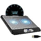 KLIM Swift Base de Refrigeración para Portátil Alto Rendimiento en Aluminio para PC y Mac con Soporte de Base de Refrigeración - Nueva Versión 2021 - Negro