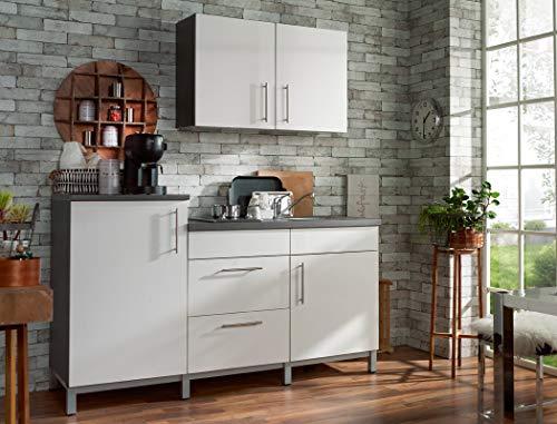expendio Küchenblock Raven 180 cm mit E-Geräten komplett weiß Hochglanz Graphit Küchenzeile Singleküche Einbauküche Komplett-Küche