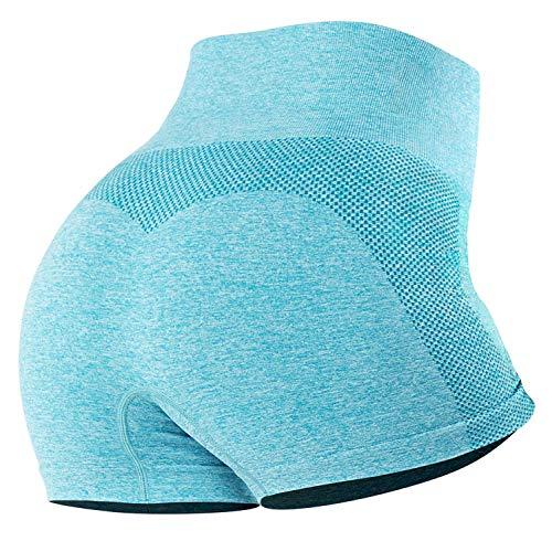 Tuopuda Pantalones Deportivos Cortos de Correr para Mujer Mallas Elásticas Leggings Sin Costuras de Alta Cintura para Fitness Yoga Correr Secado Rápido (Azul,M)