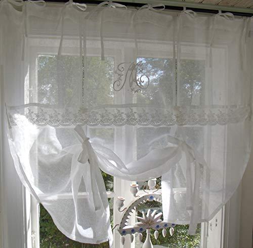 LillaBelle WEIß Raff Gardine Mariella Leinen 160x120 Scheiben Gardine Vorhang Raffrollo Bestickt Spitze Vintage Landhaus Shabby