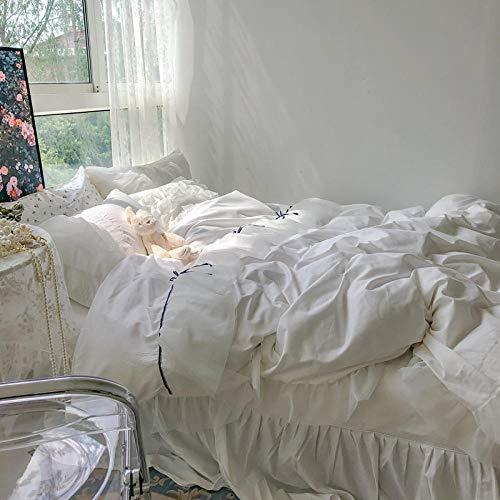 Cama De Tres Piezas Sabanas Bajeras Falda De Cama Blanca De Encaje De Cuatro Piezas Francés Funda De Edredón Completo Cama De Algodón-Una_Traje De Cuatro Piezas Con Falda De Cama De 2,0 M (Funda De