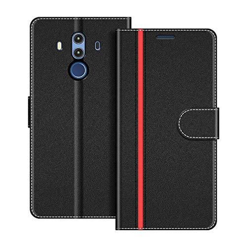 COODIO Handyhülle für Huawei Mate 10 Pro Handy Hülle, Huawei Mate10 Pro Hülle Leder Handytasche für Huawei Mate 10 Pro Klapphülle Tasche, Schwarz/Rot