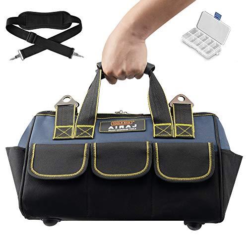 AIRAJ 33 * 21 * 25CM Werkzeugtasche, kleine Werkzeugbeutel, verstellbarer Schultergurt und Kunststoffgriff, Werkzeugtasche zur Aufbewahrung von Elektro- und Handwerkzeugen