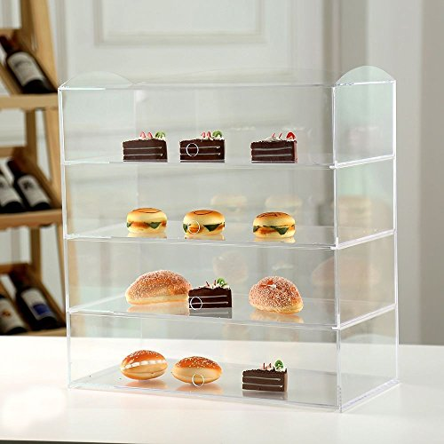 Acrílico panadería pastelería vitrina soporte armario pasteles Donuts Cupcakes pasteles, vidrio, H520mm x W490mm x D240mm
