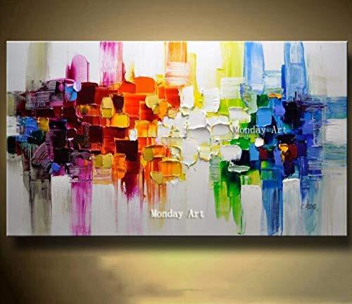 Pittura Ad Olio Dipinto A Mano Su Tela,Paesaggio Astratto Pittura,Multi Colori Quadrati,Europea...