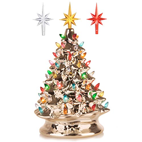 RJ Legend 15-Inch Champagne Gold Festive Ceramic Christmas Tree – Pre-lit Winter Tree Décor with Multicolor Lights – Mini Decorated Christmas Tree for Home – Vintage Holiday Lights