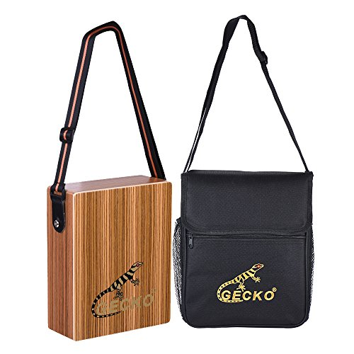 ammoon Cajon Drum Box, Gecko Portable Travel Cajon Drum Percussion Mallets with Wood Hand Drum Carrying Strap Hand Bag