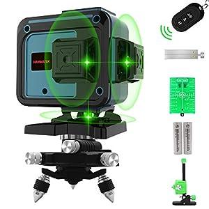 Nivel Láser 40M, Llínea Láser Verde Cruzada 3x360 °, Líneas de Niveles Láser de Modo de Pulso, 12 Líneas Horizontales y Verticales Autonivelantes, IP54 a Prueba de Agua con 2 Baterías,Control Remoto