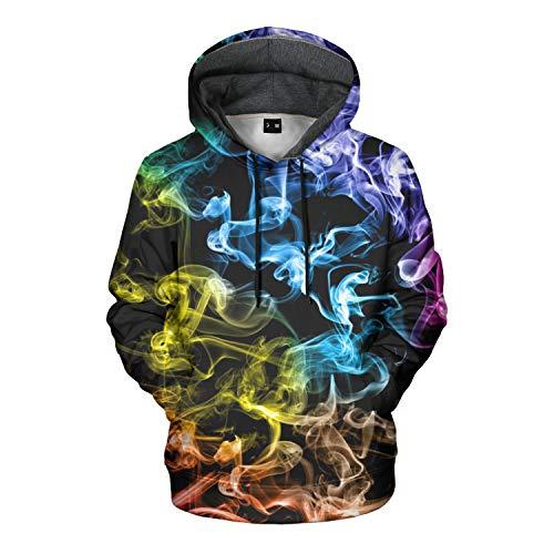 Mens Hoodies Pullover Unisex Sweatshirt Graphic Hoodies For Men 3D Hoodie For Women (F01-yellowblue Smoke, XL)