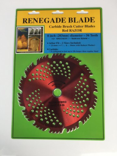 """Renegade Blade 1 Blade 8""""-56t Razor/Hybrid - Combo Specialty - GS1 Barcode Shelf Hanging Blister Pack - Carbide Brush Cutter Weed Eater Blades, 203mm Diameter"""