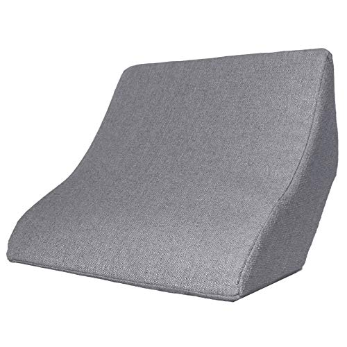 Lesekissen und Rückenstütze für optimale Sitzposition. Keilkissen, Rückenkissen, beim Lesen, Fernsehen, Spielen und Relaxen, für Bett, Couch und Sofa (Grau, 52 x 50 x 21 cm)