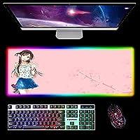 ゲーミングマウスパッド ピンクRGBラージゲーミングマウスパッドRent A Girlfriend滑り止めラバーデスクマットコンピューターキーボードパッドLEDグローラップトップノートブックパッド 300x800x4mm
