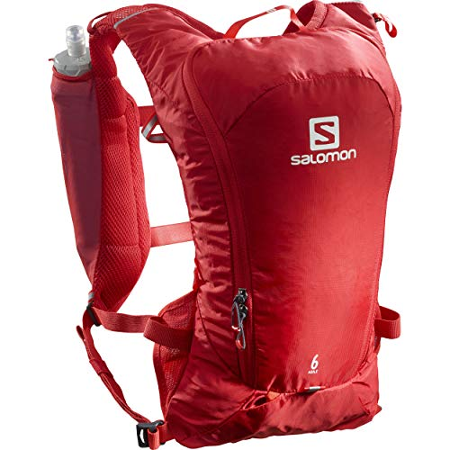 Salomon, Lightweight Racing Backpack 6 Litre, 2 Bottles Soft Flask 500 ml Included, Agile 6 Set, Red (Goji Berry), LC1305600