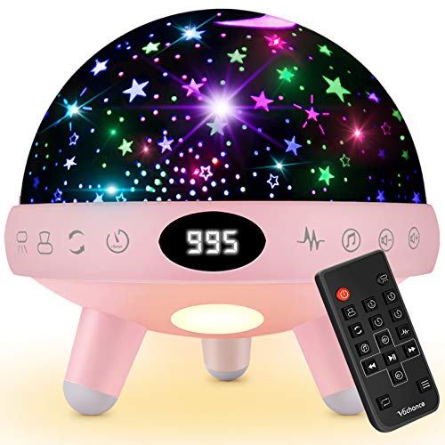 Yachance Baby Star Projector Night Light for Kids with Music White Noise Sound Machine Baby Sleep Soother Nursery Bedside Lamp 9 Natural Sounds 20 Lullabies Remote Control Adapter Timer (Pink)