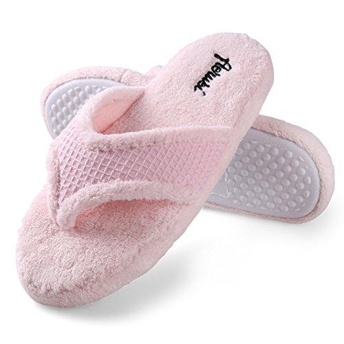 Best Price Center Comfortable Cozy Soft (Pink) House Spa Bath Slipper Flip Flops for Women Size 7