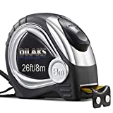 DILAKS Auto-Lock Measuring Tape Measure, 26Ft (8m) Inch Metric Ruler, 1 Inch Wider Stainless Matte Blade,...