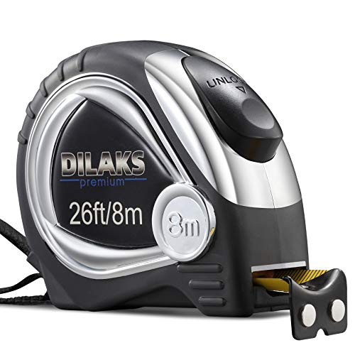 DILAKS Auto-Lock Measuring Tape Measure, 26Ft (8m) Inch Metric Ruler, 1 Inch Wider Stainless Matte Blade, Magnetic Hook, Solid Rubber Case