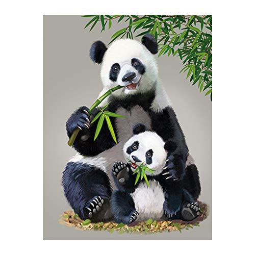 Kit per Pittura a Mosaico con Diamanti Quadrati 5D per Adulti Panda Madre e Bambino Completo Ricamo a Punto Croce Immagini Arte Artigianato per la Decorazione della Parete Domestica Regalo 30 x 40 cm