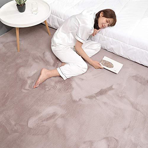 Ultraweiche Faux-Pelzbereich Teppich, dicke feste Farbe Kaninchen-Pelz-Teppichsofa-Cover-Bett-Teppich für Wohnzimmer-Schlafzimmer Kinder-Raum-hellbraun 180x220cm (71x98inch), violetten Greya, 100x200c