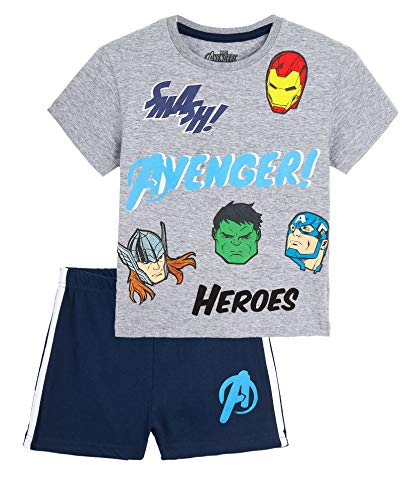 Marvel Pijama Niño Verano, Pijamas Niños Cortos con Iron Man Thor Capitan America Hulk y Spiderman, Conjunto Niño Verano de Los Vengadores, Regalos para Niños (Gris/Azul, 4-5 años)