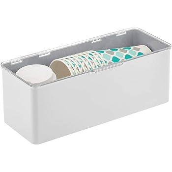 ideal para organizar la cocina Caja con tapa de dise/ño apilable blanco y transparente mDesign Caj/ón de pl/ástico sin BPA la habitaci/ón infantil o el ba/ño Cajas de ordenaci/ón multiusos