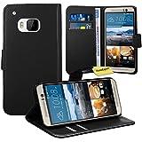 HTC One M9 Handy Tasche, FoneExpert® Wallet Hülle Flip Cover Hüllen Etui Ledertasche Lederhülle Premium Schutzhülle für HTC One M9 (Schwarz)