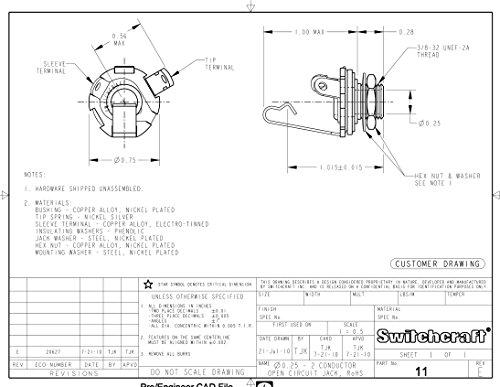 "Switchcraft 1/4"" Mono 2-Conductor Input Jack, Open Circuit (Type 11)"