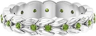 Rosec Jewels - Anillo de peridoto creado en laboratorio de 1/4 quilates, oro de 10 quilates (calidad AAAA).