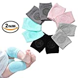 EAYIRA (Set of 2 Pairs) Baby Knee Pads for Crawling, Anti-Slip Padded Stretchable Elastic Cotton Soft Breathable Comfortable Knee Cap Elbow Safety Protector(Multi Color)