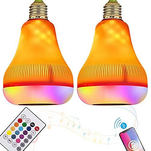 SHENGY 2 STKS Smart LED Muziek Lamp, Bluetooth Speaker Flame Effect Licht, E27 RGBW Kleur Veranderende Licht voor Thuis, Slaapkamer, Woonkamer, Feestdecoratie