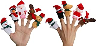 Hengyuan Christmas Finger Puppets, 5pcs Set Xmas Story Telling Plush Finger Puppets Toy, Cute Dolls Animal Finger Puppets ...