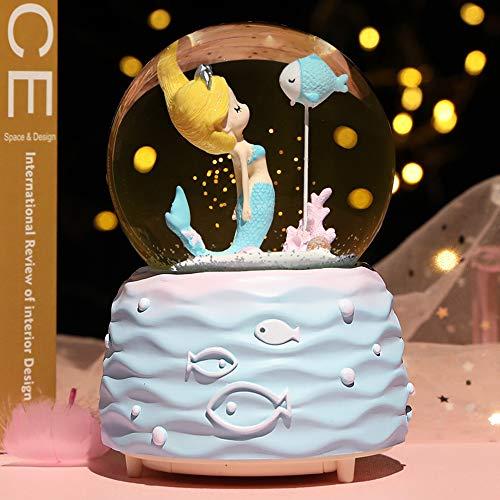 Breis 10 cm große Schneekugel mit automatischem Schnee, musikalisch, LED-Lichter, Geschenke für Mädchen, Geburtstag, Weihnachten, Festival, Geschenk für 5–12 Jahre alte Mädchen, Meerjungfrau blau