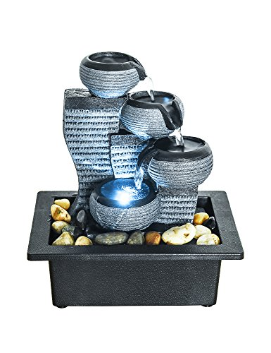 SunJet 4-Tier Desktop Water Fountain Submersible Pump Indoor Decoration – Portable Tabletop Decorative Waterfall Kit - Soothing Relaxation, Zen Meditation Ambient Office Home (10' H-Right)