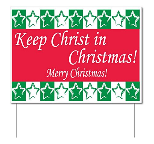 VictoryStore Yard Signs - Keep Christ in Christmas Yard Sign, Green and Red (2)