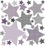 greenluup öko Wandsticker Wandaufkleber 80 Sterne Lila Grau Violett Flieder Wanddeko Kinderzimmer Mädchen Babyzimmer(Sterne Lila)
