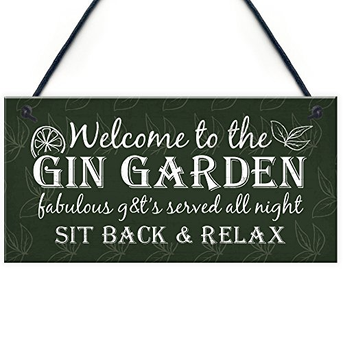 RED OCEAN Gin Signs Garden Shed Bar Pub Plaque Gin & Tonic Funny Alcohol Sign Party Friendship Gift