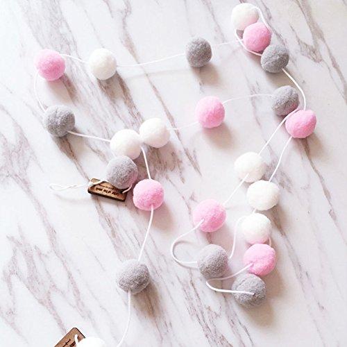 20m 30pcs fieltro de lana bola de pared colgante, guirnalda con diseño de pelo cuerda headmade para pared puerta habitación decoración, White+pink+gray, Tamaño libre