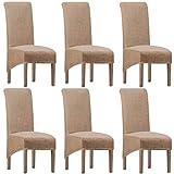 SHENGYIJING Fundas elásticas de licra XL para sala de estar, fundas para sillas de comedor de Jacquard,extraíbles,protectoras para sillas de comedor para cocina(Camel,XL (Pack de 6))