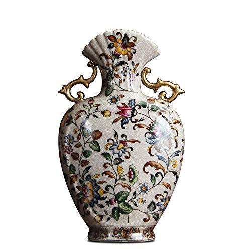 ZNYLX Vase Europäische Doppelohr Vase Porzellan antike Heimtextilien Ornament antike Porzellan