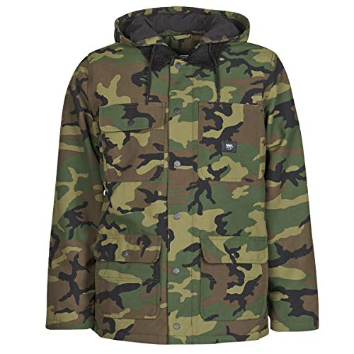 V A N S Cappotto Chore in Drill MTE Giacca Giaccone Uomo Camo Camouflage Verde (L)