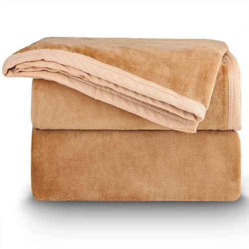 NEUFLY Decke, Flannel Blanket Wohndecke 150 x 200 cm Couchdecke Warme Kuscheldecke für Bett und Sofa - Hellbraun